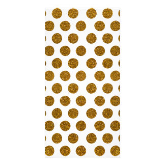 Girly Chic Gold Polka Dots Glitter Photo Print Photo Greeting Card