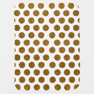 Girly Chic Gold Polka Dots Glitter Photo Print Pramblankets