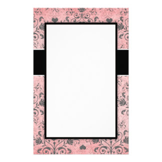 girly chic grey heart swirl damask on grunge pink personalized stationery
