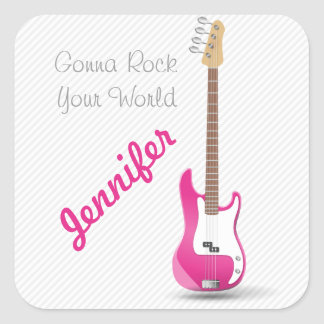 Girly Chic Hot Pink Electric Guitar White Stripes Square Sticker