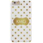 Girly Chic Monogrammed White and Gold Polka Dots