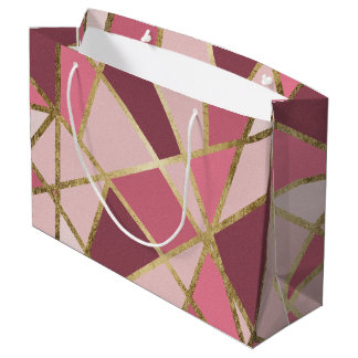 Girly Chic Pink & Burgundy Geo Gold Triangles Large Gift Bag