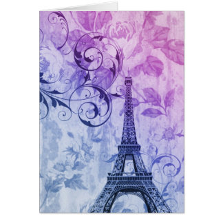 Girly chic purple floral Girly Paris Eiffel Tower Card