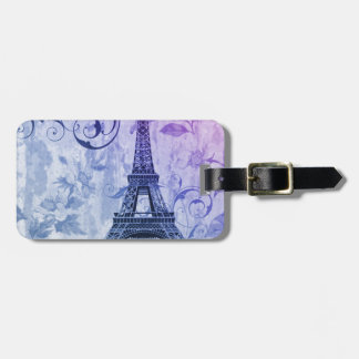 Girly chic purple floral Paris Eiffel Tower Luggage Tag