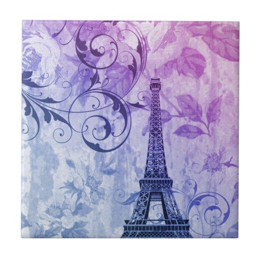 Girly chic purple floral Paris Eiffel Tower Tile
