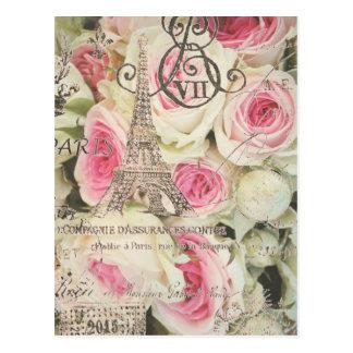 girly chic retro fashion paris eiffel tower postcard