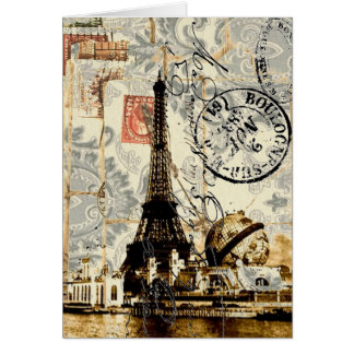girly chic romantic floral paris eiffel tower card