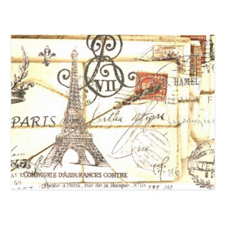 girly chic romantic floral paris eiffel tower postcard