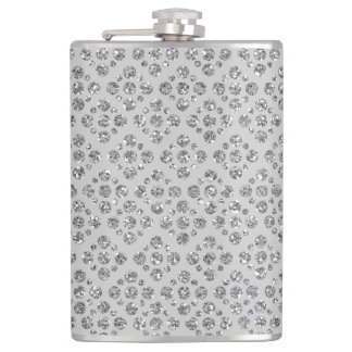 Girly & Chic Silver Dots Custom Grey Flask