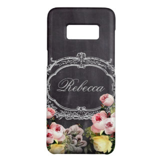 girly chic vintage chalkboard floral monogram Case-Mate samsung galaxy s8 case