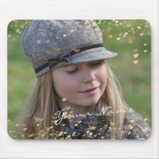Girly Child Photo Golden Confetti Hearts Sweet Mouse Pad
