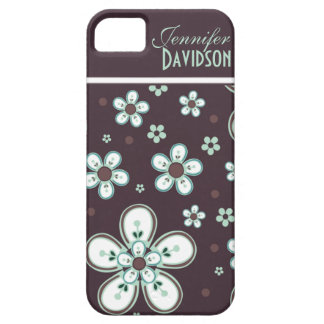 Girly Chocolate Mint Floral Monogram iPhone5 Barely There iPhone 5 Case