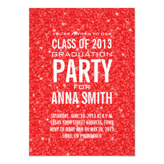 GIRLY CLASS OF 2013 PARTY INVITATION | RED GLITTER