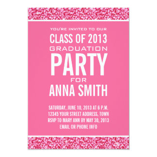 GIRLY CLASS OF 2013 PARTY | PINK GLITTER CARD