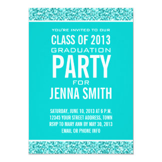 GIRLY CLASS OF 2013 PHOTO, TEAL GLITTER, PARTY CARD