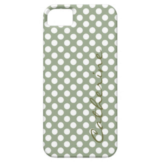 Girly, classic pastel forest green polka dots iPhone 5 covers