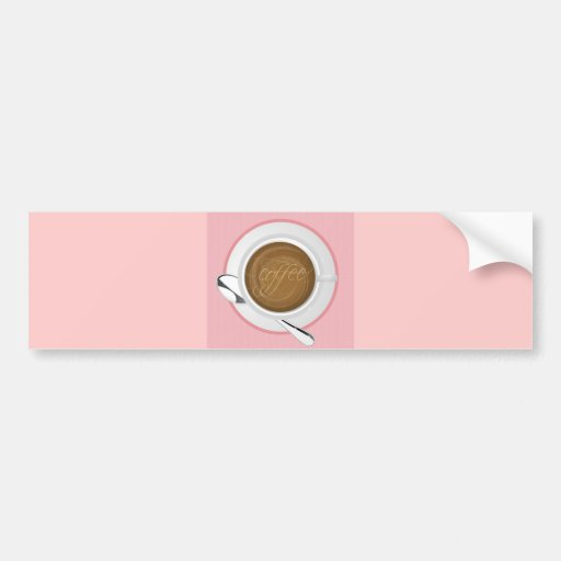GIRLY COFFEE PINK CAFE HAPPY BEVERAGES GOOD MORNIN BUMPER STICKERS