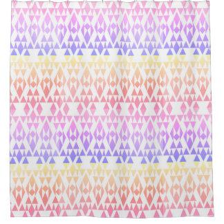 Girly Colorful Aztec White Custom Shower Curtain