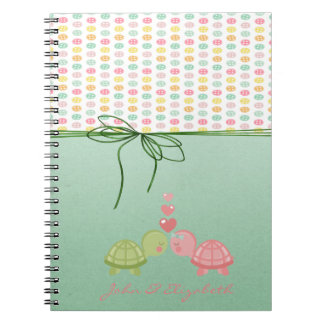 Girly Colorful Buttons,Turtles In Love Notebook