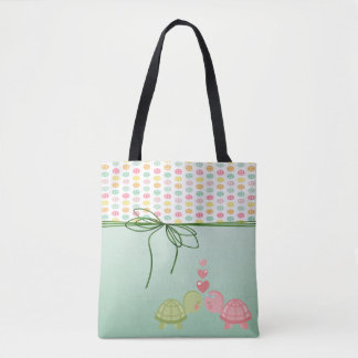Girly Colorful Buttons,Turtles In Love Tote Bag