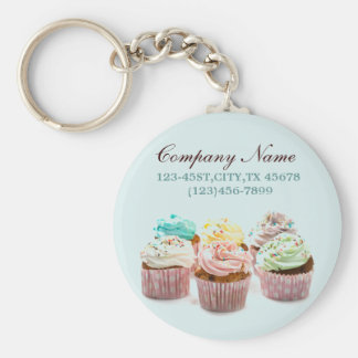 girly colorful cupcakes bakery business basic round button key ring