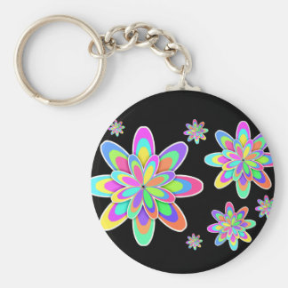 Girly Colorful Flowers Basic Round Button Key Ring
