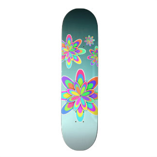 Girly Colorful Flowers Skate Board