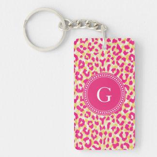 Girly colorful pink cheetah print monogram key ring