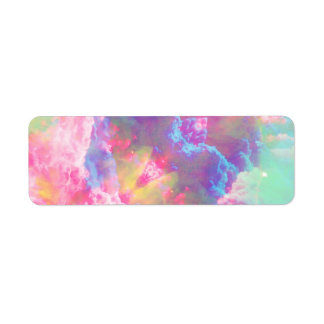 Girly Colorful Pink Turquoise Watercolor Clouds Return Address Label