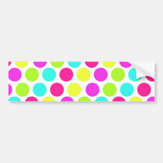 Girly Colorful Polka Dots Pattern for Girls Bumper Sticker