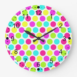 Girly Colorful Polka Dots Pattern for Girls Large Clock