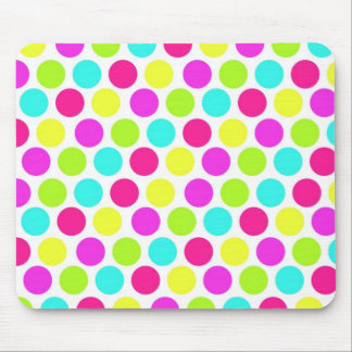 Girly Colorful Polka Dots Pattern for Girls Mouse Pad