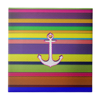 Girly Colorful Stripe polka dot heart anchor Small Square Tile