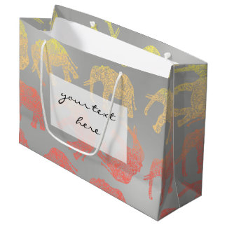 girly colorful tribal floral elephant pattern large gift bag
