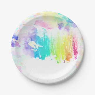 Girly colorful watercolor brushstrokes pattern paper plate