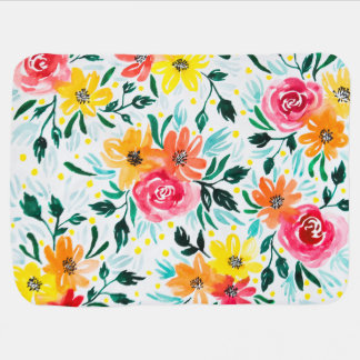Girly Colorful Watercolor Flowers Pattern Baby Blanket