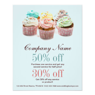 girly colourful cupcakes bakery business flyer