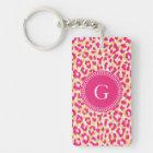 Girly colourful pink cheetah print monogram key ring