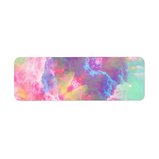 Girly Colourful Pink Turquoise Watercolor Clouds Return Address Label