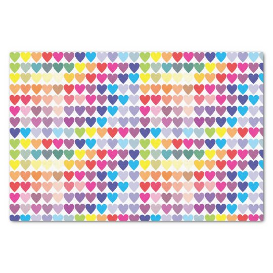 Girly Colourful Rainbow Hearts Tissue Paper