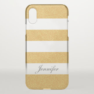 Girly cool TRENDY fAUX GOLD Striped personalized iPhone X Case