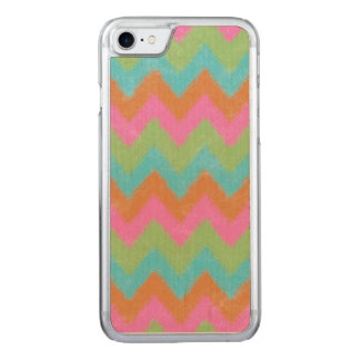 Girly Coral and Mint Bohemian Chevron Pattern Carved iPhone 7 Case