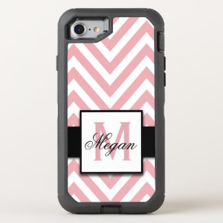 GIRLY, CORAL PINK CHEVRON PATTERN OtterBox DEFENDER iPhone 8/7 CASE