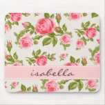 Girly Cottage Chic Romantic Floral Vintage Roses Mouse Pad