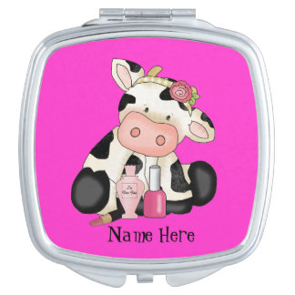 Girly Cow cartoon compact mirror