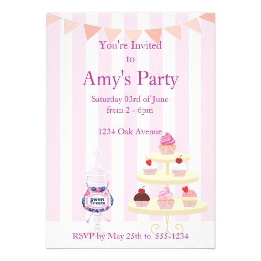 Girly Cupcakes and Candy Jar Birthday Invitation