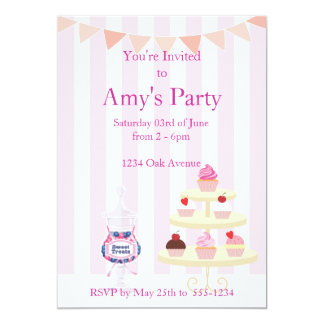 Girly Cupcakes and Candy Jar Birthday Invitation