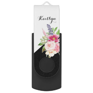 Girly Custom Pastel Watercolor Floral USB Flash Drive