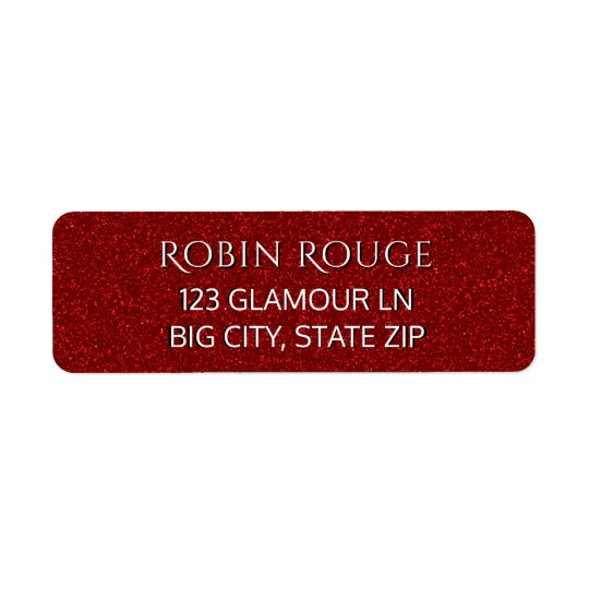 Girly Cute Chic Luxe Glam Faux Red Glitter Modern Return Address Label