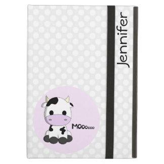 Girly cute cow cartoon customizable girls iPad air cases